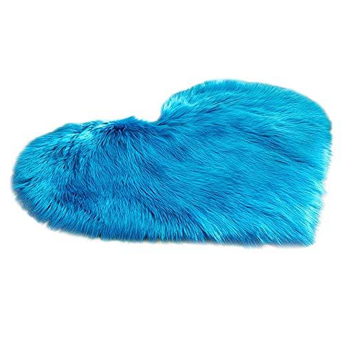 YWLINK Faux Fur Rutschfeste Bettvorleger Sofa Matte Teppiche Schlafzimmer Wohnzimmer Modern Shaggy Teppichmatten Süß Herzform