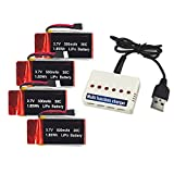 Wwman 4 Pcs 3.7V 500mAh 30C Lipo Battery and 1to 6 charger Pack for UDI U45 U42 U42W Syma X5 X5C X5SW X5C-1 X5SC X5SC-1 Quadcopters Drone Parts - Overcharge Protection