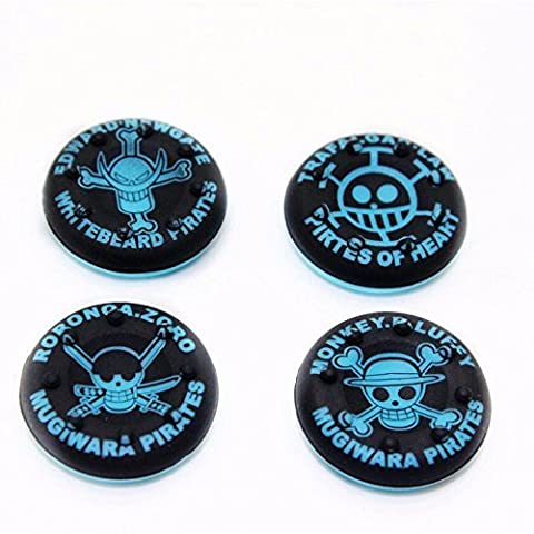 4 pc set of Pirate Silicone Thumb Grips for XBOX ONE / 360, PS3 and PS4 (BLUE)