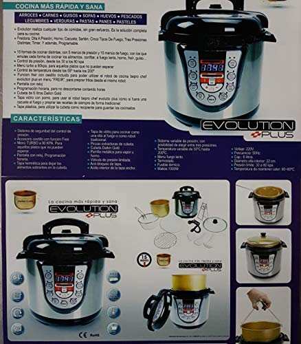 COCIMAX Cocina programable Evolution de 6 litros.Turbo, freír y Fuego Lento. Menús Tradicionales: Guiso, presión, Vapor, Horno, Plancha, Caliente, recalentar. Nunca era Posible cocinar Tan facil.
