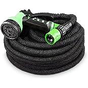 tillvex flexiSchlauch Black Edition - flexibler Gartenschlauch 30m ausgedehnt mit neuem und verstärktem Außengewebe - inklusive komplettem Zubehör (30m)