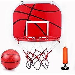 Mini Jeux de Basket Ball Kit Jouet Intérieur Extérieur - Panier de Basket + Panneau + Basket-ball avec Pompe à Air pour Enfants