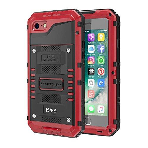seacosmo iPhone 5S wasserdichte Hülle, Militärstandard Schutzhülle mit Eingebautem Displayschutz Haltbarkeit stoßfest Handyhülle für iPhone 5 SE, Rot