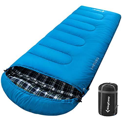 KingCamp Oasis Sacco a Pelo 3-4 Stagione Filnella di Cotone Adulto 220 × 80 cm Caldo per l\'inverno