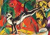 Kunstdruck/Poster: Franz Marc DREI Katzen - Hochwertiger Druck, Bild, Kunstposter, 70x50 cm