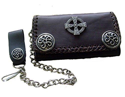 Biker Leder Geldbörse Wallet Scotish Cross Leder Farbe Braun Weiches Echtleder (Cross-geldbörse)