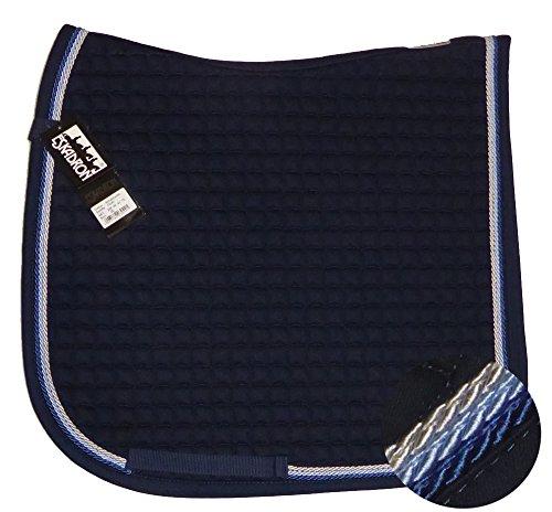 Eskadron Cotton Schabracke Navy, 3fach Kordel silberf/hellblau/Jeans, Farbe:Navy, Größe:Dressur