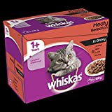Whiskas 1+ Years Cat Pouches Meat Selection in Gravy, 12 x 100 g