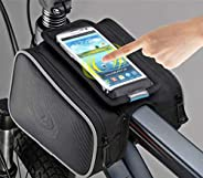 2L Cycling Bike Double Pouch Bag Bicycle Front Top Tube Frame Pannier Double Bag Pouch for 5.7In Cellphone