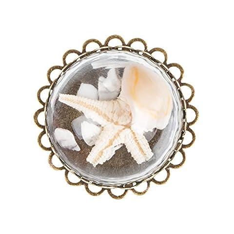 Femme Réel Sea Star Diy Ring Transparent Verre Marin Anneau Délicat Cadeau d'Anniversaire Chic