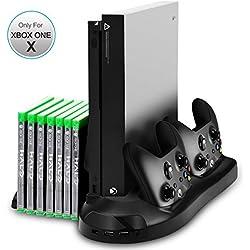 Xbox One X Standfuß - LeSB vertikaler Ständer mit eingebautem Lüfter, Doppelsteuerpulte-Ladestation, 7 Schlitz-Spiel-Speicher und 3 Häfen USB-Nabe für Xbox One X