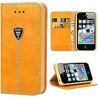 iDoer iPhone 4S Hülle Hochwertig handyhülle iPhone 4 mit klappe tasche handyhuelle schutzhülle Handys Schutz Hülle PU Leder magnet handytasche Flip Case für iPhone 4/4S mit Ständer - Gelb