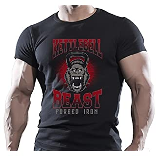 Arubas-uk Kettlebell Beast Herren T-Shirt, Gorilla-Motiv, Bodybuilding-Motivations-T-Shirt, MMA-Design, Workout-Oberteil - L