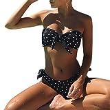 Longra Mujer Traje de Baño Sin Tirantes Estampado de Lunares Push Up Bañador Bikinis Beachwear Traje de Baño de Playa Natación (Negro, L)