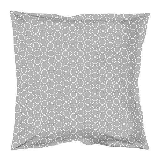Douceur d'Intérieur Zodiac Taie D'Oreiller Volant Plat Coton Gris/Blanc 63 x 63 cm