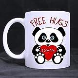 Lovely de oso Panda esperaba además para tu abrazo 'incluye abrazo I Love you' (doble lado) de blancos personalizado taza de cerámica taza de café (11 onzas)