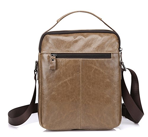 Xinmaoyuan uomini borse Vera Pelle Men Bag Casual spalla Business Messenger Bag Zipper postino verticale Package,kaki Kaki