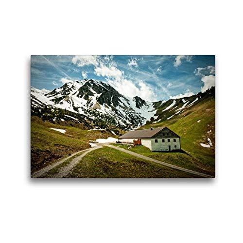 Calvendo Premium Textil-Leinwand 45 cm x 30 cm quer, Stuiben-Sennalpe (Zöblen) | Wandbild, Bild auf Keilrahmen, Fertigbild auf echter Leinwand, Leinwanddruck Orte Orte