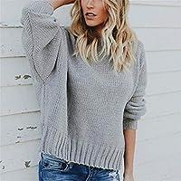 Señoras Sueter De Punto, Suéter Sexy,Gray,XL