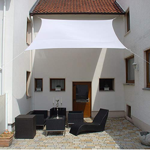 Dekowelten LUXUS Terrassen Sonnensegel viereck der ExtraKlasse 3x3m Weiss Regenschutz wasserdicht