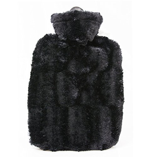 Premium 1.8 Litre Classic Eco-Sustainable Hot Water Bottle with Luxury Black Faux Fur Cover (Rubberless) Made in Germany by HotWaterBottleShop