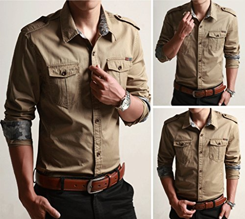 WSLCN Homme chemise de loisirs bûcheron Coton Manches longues Couleur unie Kaki
