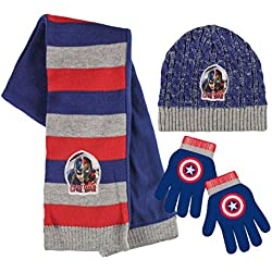 Marvel 2200001554 - Juego de gorros y guantes de invierno (talla única), diseño de Capitán de Guerra Civil América y Iron Man