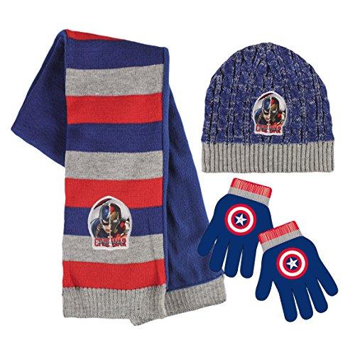 (Marvel 2200001554Bürgerkrieg Captain America und Iron Man Kinder Winter Set beinhaltet Beanie Mütze/Handschuhe/Schal (Eine Größe))