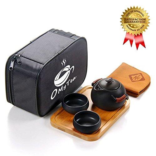 omytea tragbar Travel Tee-Set–100% Handgemachte Chinesische/Japanische Vintage Kungfu Gongfu Tee-Set–Porzellan Teekanne & Teetassen & Bambus Tee Tablett & Tea Matte mit eine tragbare Reisetasche