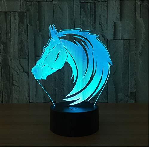 Nachtlicht 3D Optische Täuschung Lampe Acryl Langhaarige Pferd 7 Farbwechsel Led Schreibtisch Usb Batterie Indoor Kinderzimmer Lampe Geschenk