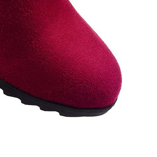 AgooLar Damen Überknie Hohe Stiefel Rein Ziehen Auf Rund Zehe Mittler Absatz Stiefel Rot