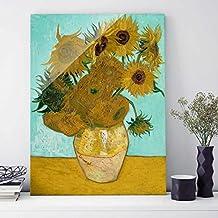 Impression sur verre - Vincent van Gogh - Les Tournesols - Post-Impressionnisme Portrait 4:3 | image sur verre tableau en verre tableau mural déco murale déco verre tableau mural en verre impression de verre, Dimension: 80cm x 60cm