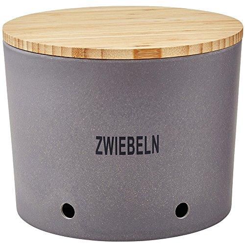Magu Zwiebeltopf Natur-Design in Schiefer, Bambusfasern, Getreidestärke, Holzfaser, 28 x 28 x 8 cm