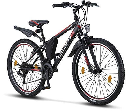 Licorne Bike Guide (Schwarz/Rot/Grau), 26 Zoll Mountainbike, MTB, geignet ab 150 cm, Shimano 21 Gang-Schaltung, Gabelfederung, Jungen-Fahrrad & Herren-Fahrrad, Rahmentasche