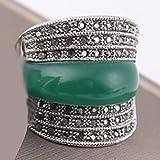 KFYU Joyería Original Verde/Negro/Rojo Piedra Anillos geométricos de época para Mujeres con Diamantes de imitación Negros Bijoux en Anillos de Color Verde Oscuro 7