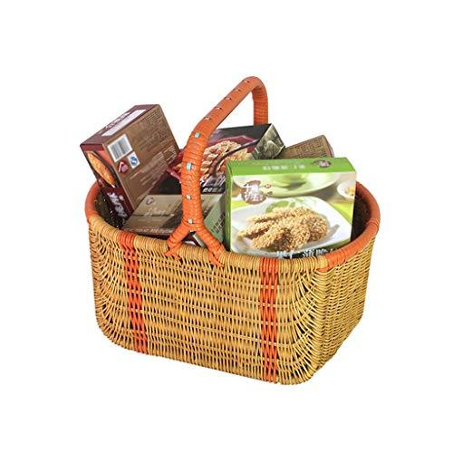 ANHUE Wilde Grillkorb, Unternehmen Outing Basket Outdoor Camping Korb Picknickkorb Büro Obstkorb 38 * 25 * 19 cm (Size : 38 * 25 * 19CM)