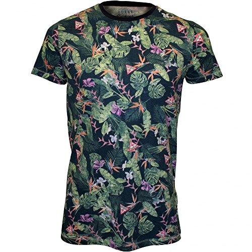 Camiseta-Guess-Florales-cuello-Redondo-Hombres-Verdeazul-Grandes
