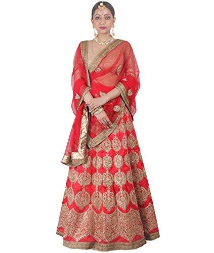 Indian Ethnicwear Bollywood Pakistani Wedding Red A-Line Lehenga Semi-stitched-DIVISL038