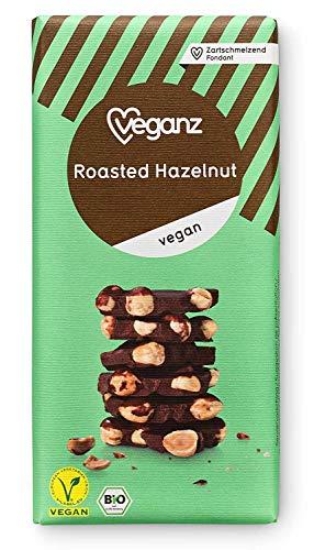 Veganz BIO Roasted Hazelnut ✔ Vegane Schokolade mit gerösteten Haselnüssen Knackig Vegan ✔ 10 x 90g
