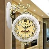 Wanduhr Wanduhr, Große europäische Uhr, Doppelseitige Wanduhr Einfache Wohnzimmer Schlafzimmeruhr Gartenuhr Uhr im japanischen Stil (Color : C)