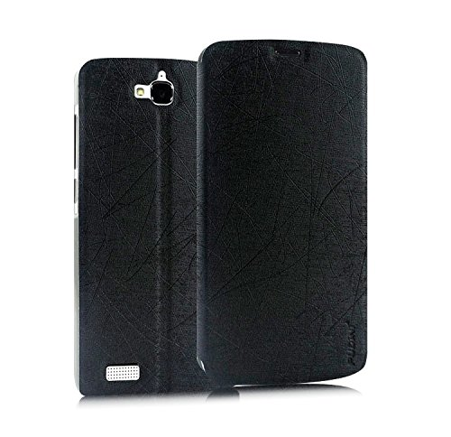 Pudini® Yusi Rain Series Leather Flip Cover Case for Huawei Honor Holly – Black
