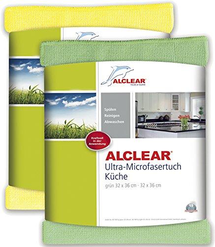 ALCLEAR 8215810yg Ultra-Microfaser Küchentücher perfekt für Küche, Gastronomie, Gläser, Geschirr, 32 x 36 cm, grün und gelb ,2er Set