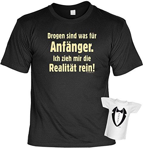 Lustiges Sprüche Fun T-Shirt mit MiniShirt - Drogen sind was für Anfänger - für Damen Herren Farbe schwarz Schwarz