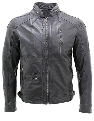 Männer Motorradfahrer Echte 100% Lammfell Schwarz Nappa-Lederjacke XS
