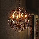 FGHOME Industriel Vintage Rustique En Fer Forgé Style Vieilli Bougie En Laiton Lustre Globe Ombre Pendentif Lumière Luminaire Suspendu avec 4 lumières...