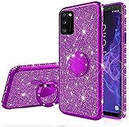 EnjoyCase Glitter Case Galaxy A41,Bling Diamond Rhinestone Girls Women Cover with Ring Kickstand Shiny Skin Cl