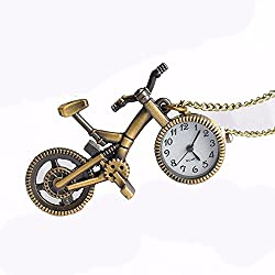 AOHANG Numerical Markings Bronze Tone Bicycle Design Adjustable Chain Pocket Watch