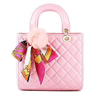 2018 Mode Frauen Karriere OL Handtasche Lingge Schals Schultertasche Umhängetasche Umhängetasche Tasche Klassisch Abendtasche Quadratische Tasche,Pink-23*21*11cm