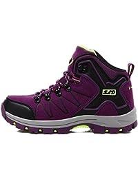 Alto de cuero superior de senderismo zapatos otoño e invierno impermeable antideslizante y durable zapatos deportivos al aire libre para trekking camping alpinismo , purple , 40