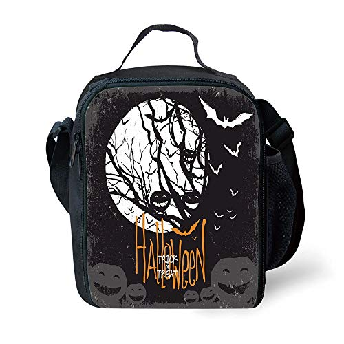 s Vintage Halloween,Halloween Themed Image with Full Moon and Jack o Lanterns on a Tree Decorative,Black White for Girls or Boys Washable ()